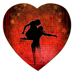 Dancing Couple On Red Background With Flowers And Hearts Jigsaw Puzzle (heart)