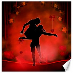 Dancing Couple On Red Background With Flowers And Hearts Canvas 12  X 12