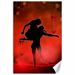 Dancing Couple On Red Background With Flowers And Hearts Canvas 24  X 36
