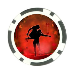 Dancing Couple On Red Background With Flowers And Hearts Poker Chip Card Guard