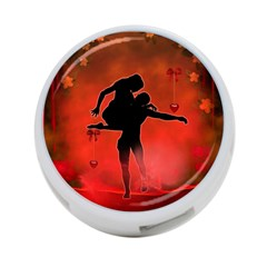 Dancing Couple On Red Background With Flowers And Hearts 4 Port Usb Hub (two Sides)