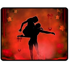 Dancing Couple On Red Background With Flowers And Hearts Fleece Blanket (medium)