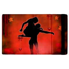 Dancing Couple On Red Background With Flowers And Hearts Apple Ipad 3/4 Flip Case
