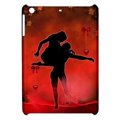 Dancing Couple On Red Background With Flowers And Hearts Apple Ipad Mini Hardshell Case
