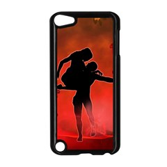 Dancing Couple On Red Background With Flowers And Hearts Apple Ipod Touch 5 Case (black)