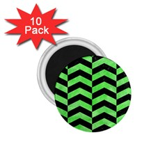 Chevron2 Black Marble & Green Watercolor 1 75  Magnets (10 Pack)
