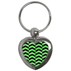 Chevron2 Black Marble & Green Watercolor Key Chains (heart)