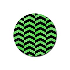 Chevron2 Black Marble & Green Watercolor Rubber Coaster (round)
