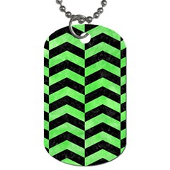 Chevron2 Black Marble & Green Watercolor Dog Tag (one Side)