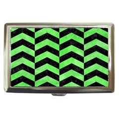 Chevron2 Black Marble & Green Watercolor Cigarette Money Cases