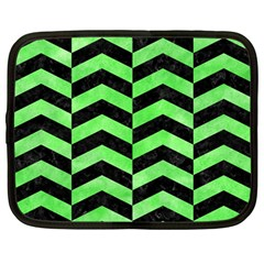 Chevron2 Black Marble & Green Watercolor Netbook Case (large)