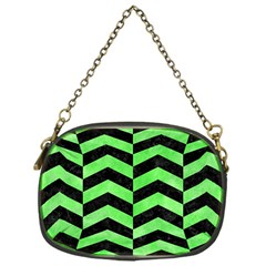 Chevron2 Black Marble & Green Watercolor Chain Purses (one Side)