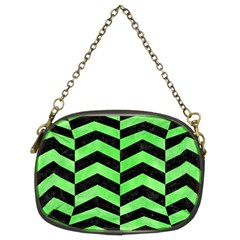 Chevron2 Black Marble & Green Watercolor Chain Purses (two Sides)