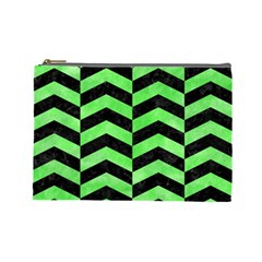 Chevron2 Black Marble & Green Watercolor Cosmetic Bag (large)