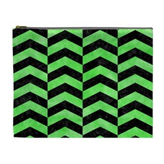 Chevron2 Black Marble & Green Watercolor Cosmetic Bag (xl)