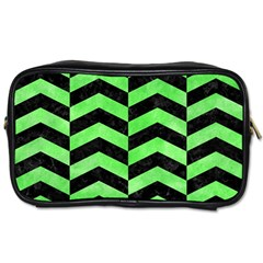 Chevron2 Black Marble & Green Watercolor Toiletries Bags 2 Side