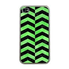 Chevron2 Black Marble & Green Watercolor Apple Iphone 4 Case (clear)
