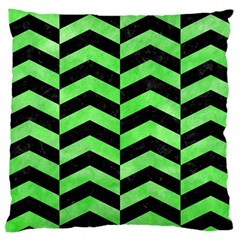 Chevron2 Black Marble & Green Watercolor Large Cushion Case (two Sides)