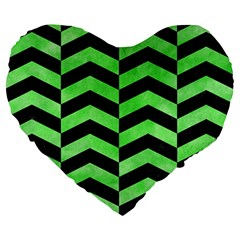Chevron2 Black Marble & Green Watercolor Large 19  Premium Heart Shape Cushions