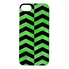 Chevron2 Black Marble & Green Watercolor Apple Iphone 5s/ Se Hardshell Case