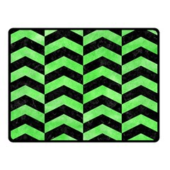 Chevron2 Black Marble & Green Watercolor Double Sided Fleece Blanket (small)