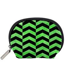Chevron2 Black Marble & Green Watercolor Accessory Pouches (small)