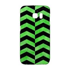 Chevron2 Black Marble & Green Watercolor Galaxy S6 Edge