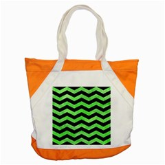 Chevron3 Black Marble & Green Watercolor Accent Tote Bag