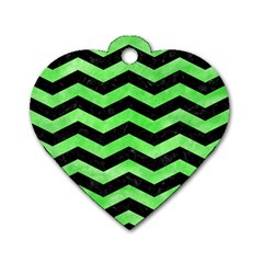 Chevron3 Black Marble & Green Watercolor Dog Tag Heart (two Sides)