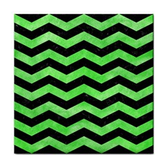 Chevron3 Black Marble & Green Watercolor Face Towel