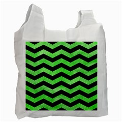 Chevron3 Black Marble & Green Watercolor Recycle Bag (two Side)