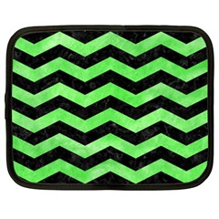 Chevron3 Black Marble & Green Watercolor Netbook Case (xxl)