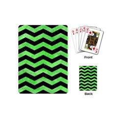 Chevron3 Black Marble & Green Watercolor Playing Cards (mini)