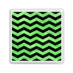 Chevron3 Black Marble & Green Watercolor Memory Card Reader (square)