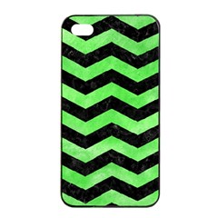 Chevron3 Black Marble & Green Watercolor Apple Iphone 4/4s Seamless Case (black)