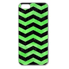 Chevron3 Black Marble & Green Watercolor Apple Seamless Iphone 5 Case (clear)