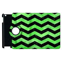 Chevron3 Black Marble & Green Watercolor Apple Ipad 3/4 Flip 360 Case