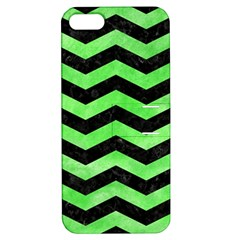 Chevron3 Black Marble & Green Watercolor Apple Iphone 5 Hardshell Case With Stand