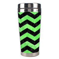 Chevron3 Black Marble & Green Watercolor Stainless Steel Travel Tumblers