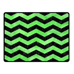 Chevron3 Black Marble & Green Watercolor Double Sided Fleece Blanket (small)