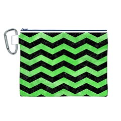 Chevron3 Black Marble & Green Watercolor Canvas Cosmetic Bag (l)