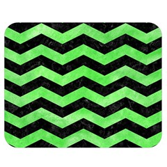 Chevron3 Black Marble & Green Watercolor Double Sided Flano Blanket (medium)