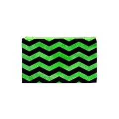 Chevron3 Black Marble & Green Watercolor Cosmetic Bag (xs)