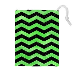 Chevron3 Black Marble & Green Watercolor Drawstring Pouches (extra Large)