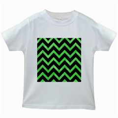 Chevron9 Black Marble & Green Watercolor Kids White T Shirts