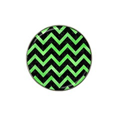 Chevron9 Black Marble & Green Watercolor Hat Clip Ball Marker (10 Pack)