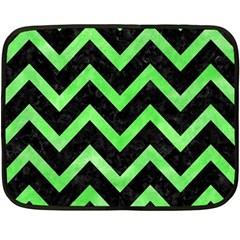 Chevron9 Black Marble & Green Watercolor Double Sided Fleece Blanket (mini)