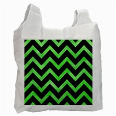 Chevron9 Black Marble & Green Watercolor Recycle Bag (one Side)
