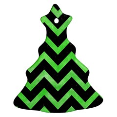 Chevron9 Black Marble & Green Watercolor Christmas Tree Ornament (two Sides)