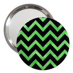Chevron9 Black Marble & Green Watercolor 3  Handbag Mirrors